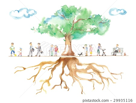 Park trees, men and seniors, clouds, roots, animals 29935116
