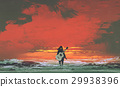 woman with guitar on back standing in the sea  29938396