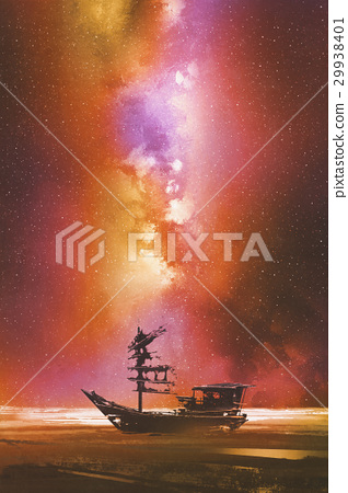 abandoned boat against starry sky 29938401