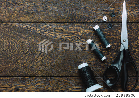 Top view tailor items on wooden background. 29939506