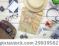 Top view essential travel items. 29939562