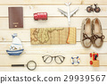 Top view essential travel summer items. 29939567