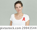 Woman Smiling Happiness Red Ribbon Charity Donation 29943544