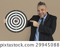 Caucasian Man Bullseye Dart Board Smiling 29945088