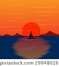 sunset landscape with beautiful island vector 29948026