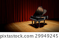 Piano on the flloor before the curtain. 29949245