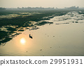 Life of India : Fishing boat in a sunset river 29951931