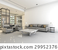 white living room with sofa and armchair 29952376
