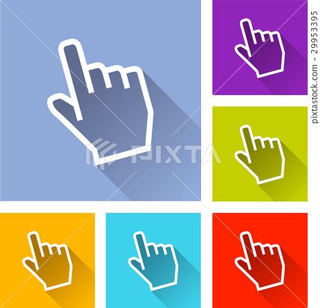 six hand cursor icons 29953395