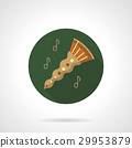 Oboe melody flat color round vector icon 29953879