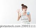 여성, 손 흔들다, 여름 29955111