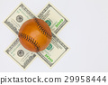 Leather baseball ball and us dollar banknotes. 29958444