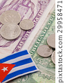 Cuban banknotes and coins on the table. 29958471