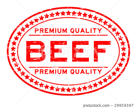 Grunge red premium quality beef oval rubber stamp 29959397