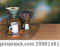 vintage coffee drip on a wooden table with burlap 29961461