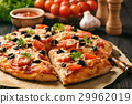 Homemade pizza with ham,cheese,tomatoes and olives 29962019