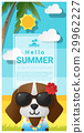 Hello summer background with dog wearing glasses 29962227