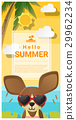 Hello summer background with dog wearing glasses 29962234