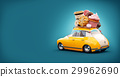 Cute fantastic chocolade car with sweets and coffee on top. 29962690