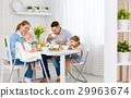 Happy family  at breakfast 29963674