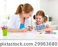 child girl painted postcard for mom to mother's day 29963680