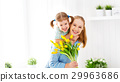 Happy mother's day! Child daughter congratulates moms and gives 29963686