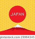 Fuji Volcano of Japan on gold Japanese background. 29964345