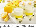 Milk dessert- panna cotta with lemon jelly. 29964440