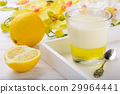Milk dessert- panna cotta with lemon jelly. 29964441