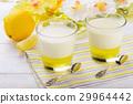 Milk dessert- panna cotta with lemon jelly. 29964442