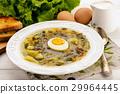 Sorrel soup with boiled egg  29964445