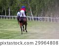 Race horses and jockeys during a race 29964808