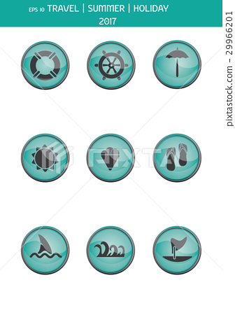 Set of travel icons. Summer vacations. Vector eps 29966201