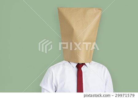 Man Paper Bag Cover Face Ashamed Portrait Concept 29971579