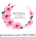 Natural vintage greeting card with pink flowers.  29971982