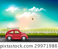 Countryside landscape with a road and a red ca 29971986