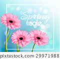 Pink gerbera daisies on a blue bokeh background 29971988