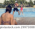 Family Swimming Pool Playing Togetherness Summer Holiday 29973088