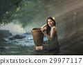 Asian sexy woman bathing in cascade 29977117