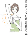 Women short hair using deodorant spray 29978126