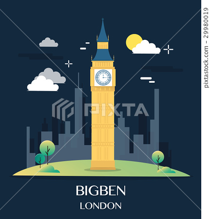 Famous London Landmark Bigben Illustration 29980019