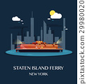 Staten Island Ferry.Vector Illustration. 29980020