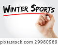 Hand writing Winter sports with marker 29980969