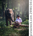 Student little Asian boy with him elephant 29981561