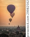Hot air balloon over plain of Bagan 29982562