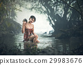 Asian sexy woman bathing in creek 29983676