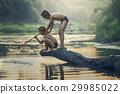 Asian Boy fishing at the river 29985022