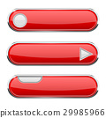 Red oval buttons. Menu interface icon with chrome 29985966