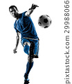 soccer player man kicking silhouette isolated  29988066