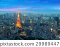 Tokyo tower and tokyo skyscraper in night in Japan 29989447